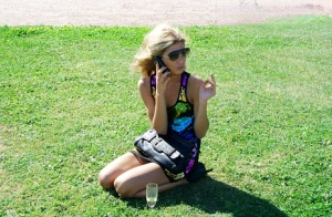 Amateur girls get dry humped on the grass after drinking some wine first