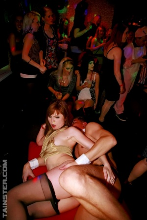 Drunken sluts get naked at the club for cock sucking  muff banging party