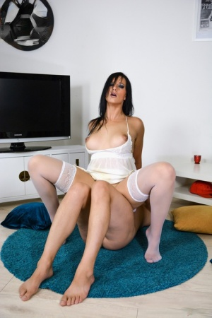 Thick brunette Sina Velvet sports a creampie after after a blowjob and anal