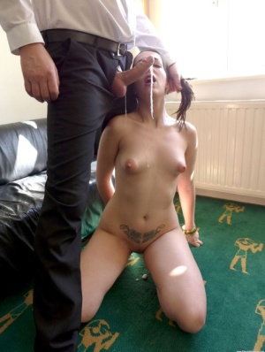 Naked brunette Liz Rainbow submits to a man with hair in pigtails