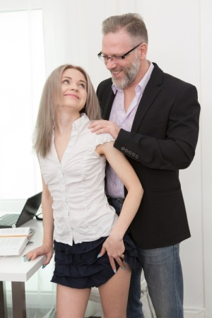 Young blonde girl Herda Wisky seduces her professor in a micro skirt