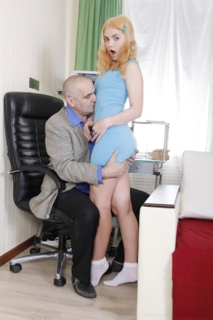 Cute teen Lolly Small rides her older teachers cock in white socks
