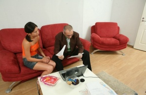College girl Olga sports pigtails while being tricked into sex by a professor 65963026