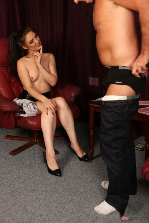 Brunette chick Roxee Couture strips and masturbates while a man jerks off