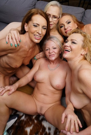 Five mature ladies get totally naked after seducing their younger waiter