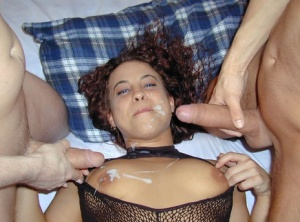 Redhead amateur gets cum on face and tits after a double penetration