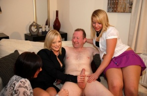 Mature lady gets some help from girlfriends while jerking off her naked hubby