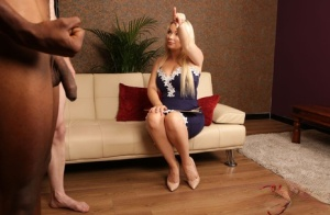 Blonde chick Penny Lee strips to her pretties while a black man jerks off