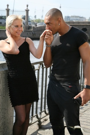 Blonde girl hooks up with a black boy for her first interracial fuck