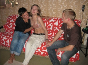 Young blonde is coerced into fucking another guy in front of her boyfriend
