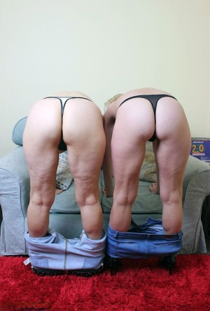 Two old lesbians exposes their big boobs and bare asses together