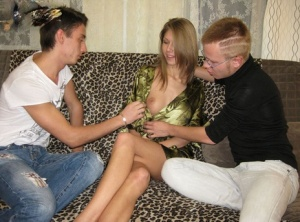 Blonde girlfriend willing agrees to fuck another boy in front of her boyfriend