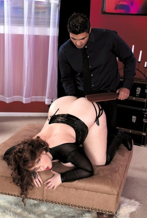 BBW Felicia Clover wears nipple pasties and OTK boots during sexual relations