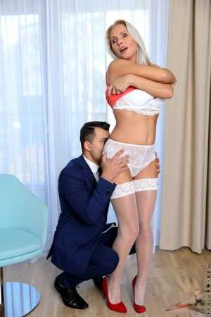 Hot older woman Kathy Anderson seduces her son-in-law as he readies for work 34315493
