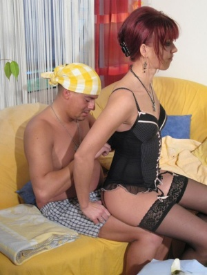 Redhead wife Ilona takes an external cumshot after fucking her man in hosiery