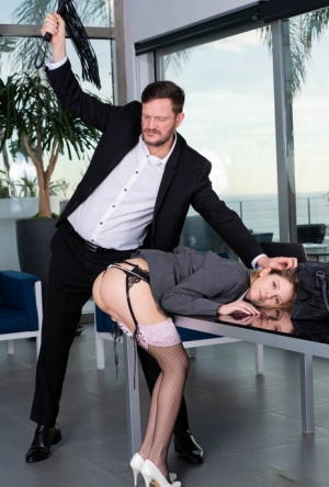 Hot secretary Rebecca Volpetti goes ass to mouth with her very upset boss
