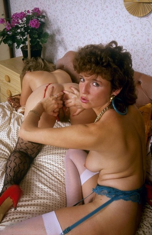 Lesbian chicks from the 70s dildo hairy muffs and assholes during sex on a bed