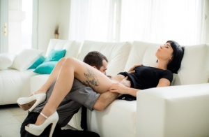 Dark haired chick Olive Glass has her ass flogged before sexual intercourse