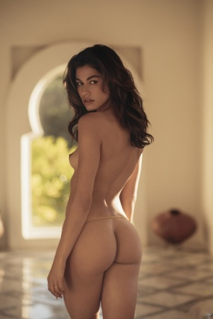 Beautiful brunette Lorena Medina shows her sexy ass during nude solo poses