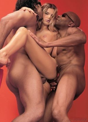 Dirty blonde chick Suzie Carina does a DP with a black and white man