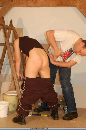 Blonde girl is tortured by her boss while while on a job site