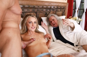 Hot wife cheats on her husband with another man while he watches them fuck 44410303
