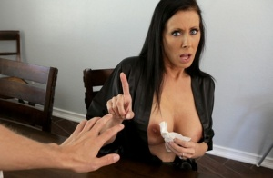 Busty mom Reagan Foxx spills cum from mouth onto boobs after sex with stepson 35761073