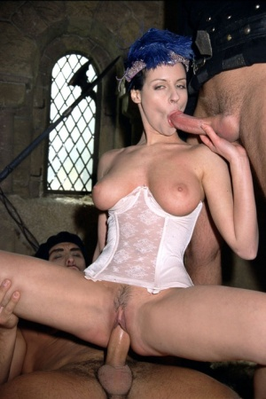 Pornstar Michelle Wild does a DP while wearing period clothing
