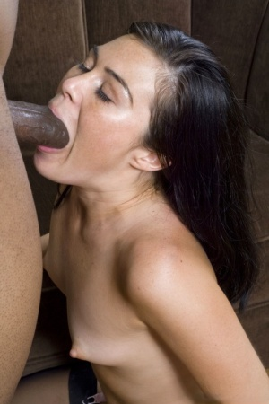 Dark haired chick gagged on BBC  banged hard in interracial anal fucking
