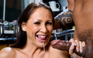 Tall older lady spills cum from mouth after intercourse with a black man