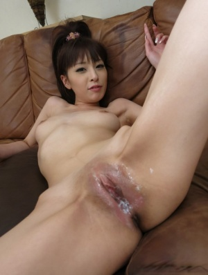 Japanese spinner Miho Miyazawa is freed from a sheer swimsuit during MMF sex
