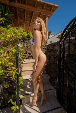 Blonde amateur takes off her bikini to pose nude by a dry stacked stone wall