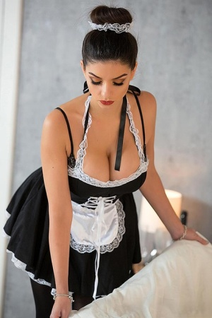 Hot brunette maid Krystal Webb pause her work to masturbate with a sex toy