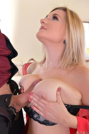 Big titted blonde Auddi seduces her man friend in a robe and her lingerie