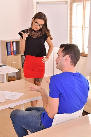 Hot teacher Liya Silver takes her students hard dick in her mouth and snatch