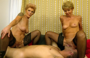 Old amateur women tangle with a young boy during a hardcore threesome