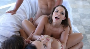 Hot couples treat the boys to unbridled sessions of threesome sex