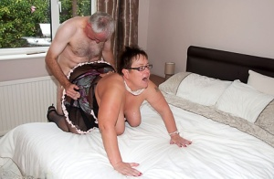 Mature BBW Warm Sweet Honey gives a BJ with her glasses on before intercourse