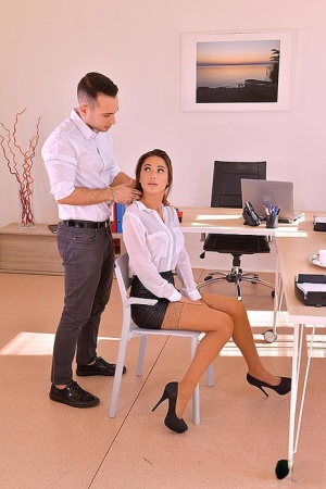 Sexy secretary Liya Silver hitches up her black miniskirt to fuck a co-worker