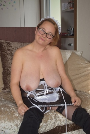 Older maid Phillipas Ladies plays with her twat after releasing her saggy tits