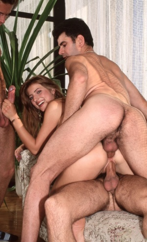 Redhead chick Monica gets double fucked before cum facials during a gangbang 78015211