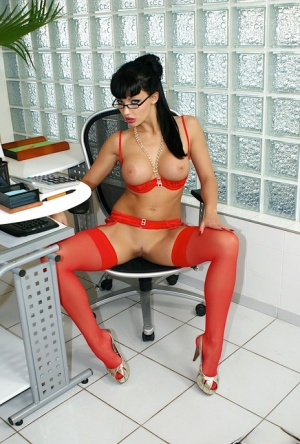 Nerdy secretary Aletta Ocean swaps oral sex before sex at work in red nylons 34694885