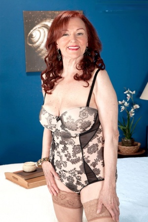Old woman with red hair Katherine Merlot rides her toy boy after a BJ
