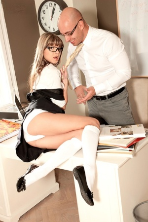 Naughty school girl Gina Gerson seduces a teacher in cotton panties and socks