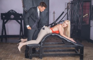 Sexy blonde Amaris is put into bondage before being fucked and jizzed on