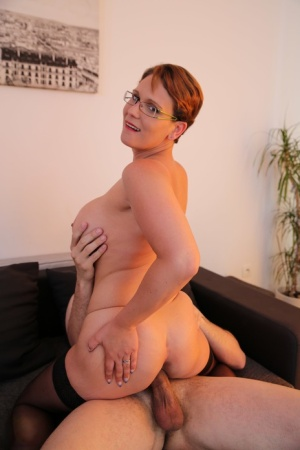 Short haired French woman sucks and fucks a large dick with her glasses on 14345877