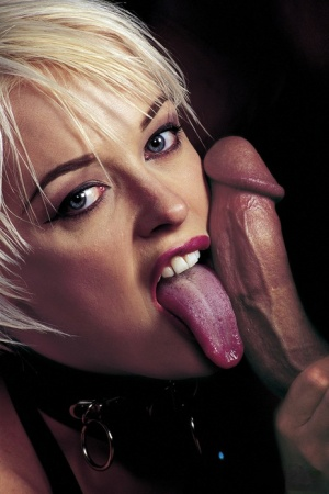 Hot blonde Layla Jade sports a mouthful of cum after a kinky MMF fuck is over