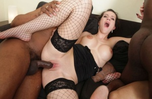 White sluts get double fucked during interracial group sex