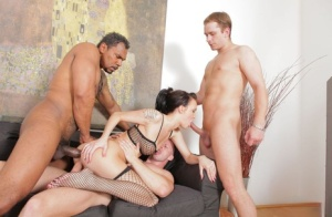 Brunette slut Claire Belle gets gangbanged by white and black boys