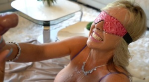 Big titted blond wife Sandra Otterson takes a facial cumshot while blindfolded 79943359